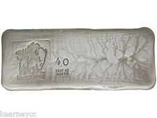 40 TROY OUNCE .999 FINE SILVER HAND POURED BISON BULLION STANDARD BAR NEBRASKA