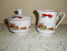3pc MACYS Cellar Santa's Sleigh Creamer & Lidded Sugar Bowl CHRISTMAS