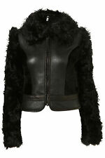 Topshop Premium Real Shearling Leather Fur Sheepskin Jacket Coat Sz S UNIQUE