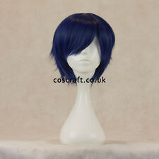 Short layered cosplay wig with fringe in midnight blue, UK seller, Prince style
