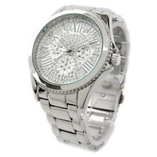 Silver SL Bling Dial Fancy Women's Boyfriend Style Watch