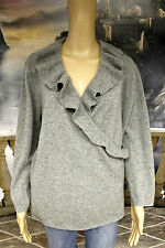 "#3874 JONES NEW YORK 100% CASHMERE GRAY RUFFLE FAUX WRAP SWEATER WOMEN 44"" CHEST"