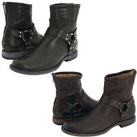 Frye Mens Phillip Harness Strap Pull On Back Zipper Casual Riding Ankle Boots