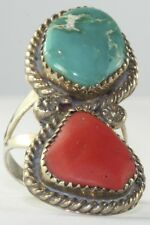 VINTAGE OLD PAWN STERLING SILVER TURQUOISE CORAL TALL RING SIZE 8.75