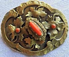 Antique Arts & Crafts Hand Hammered Hand Made Brass& Coral Large Sash Pin Brooch
