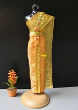 """Barbie Dress up Dolls 12"""" Clothes Thai National Outfit Handmade, Orange Costumes"""