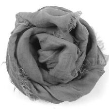 New Women's Large Solid Cotton Blend Voile Scarf Shawl Wrap