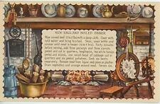 VINTAGE SPINNING WHEEL DISTAFF FIREPLACE NEW ENGLAND BOILED DINNER RECIPE PRINT