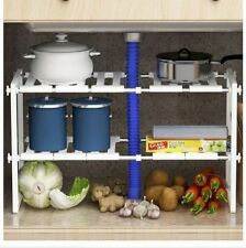 ADJUSTABLE MULTI PURPOSE KITCHEN UNDER SINK DISPLAY ORGANISER STORAGE RACK SHELF