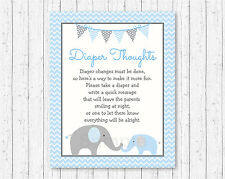 Blue Chevron Elephant Diaper Thoughts Late Night Diaper Baby Shower Game