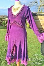 STRIKING PURPLE VELVET GODDESS DRESS SIZE UK 10 /12 BOHO HIPPIE GYPSY SKIRT TOP