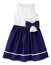 Gymboree EGG HUNT Girls 7 Navy White Bow Poplin Dressy Easter A-line Dress NWT
