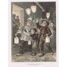 Christmas Carol Singing in Brittany - Antique Print 1891