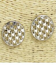 Silver Houndstooth Patterned Stud Metal FASHION Earrings