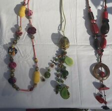 Colorful Vintage Tribal Necklaces LOT paper beads seed pods painted wooden beads