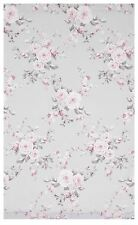"GREY PINK ROSE FLORAL 66X72"" 168X183CM LINED PENCIL PLEAT CURTAINS DRAPES"