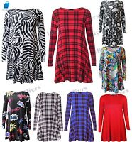 Womens Printed Long Sleeve Stretch Skater Flared Swing Dress lot 8-26 girl Party