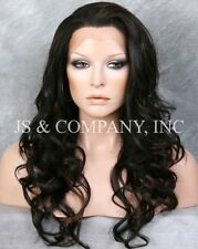 Off Black Auburn mix HEAT SAFE Lace Front Wig Curly Long Layered WEPG 1B-30
