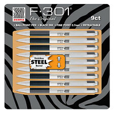 New 9 pk Zebra F-301® Stainless Steel Ball Point Pen 0.7mm fine retractable