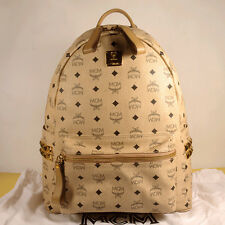 MCM STARK Medium Beige Backpack 100% Authentic + Dust Bag