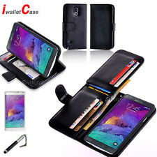 Premium LEATHER WALLET CARD IWALLETCASE FLIP CASE COVER SAMSUNG Galaxy Note 4