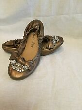 PENNY LOVE 'Kenny' Elastic Ballet Flats w/Jewel and Bow accent-Goldish/Bronze-8