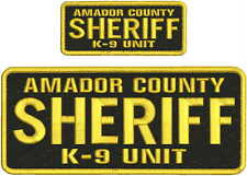 AMADOR COUNTY SHERIFFk-9 UNIT EMBROIDERY PATCH  4X10 AND 2X5 HOOK  ON BACK GOLD