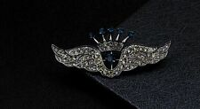 Fashion Crystal Wing Brooch Rhinestone Crown Brooch For Men broches Wholesale