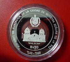 BOLIVIA SILVER COIN 50 Bolivianos KM211 UNC 1998 - 450th Anniv. City of La Paz