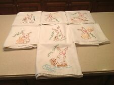 Vintage Embroidered Dish Towels Days of The Week COMPLETE CLEAN Rabbits Bunnies