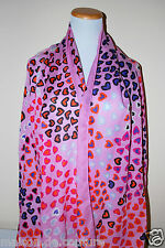 NWT MOSCHINO ITALY PINK HEARTS WOOL SILK HEART SPRING SOFT WINTER SCARF SHAWL
