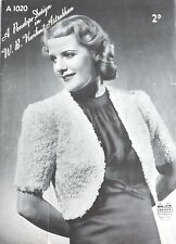Vintage 1940's Knitting Pattern Ladies Bolero/Shrug Jacket Astrakhan Wool A1020