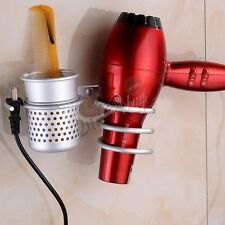 Wall Mounted Hair Dryer & Straighteners Holder Storage Rack with Cup Organizer