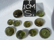#Z different mixed sizes 10 MOLDAVITES jewelry beads -white polish marks on some