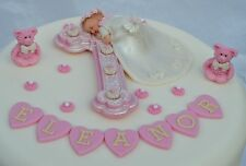 Edible personalised baby girl Christening  Baptism cake topper decoration