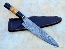 Custom Damascus steel BLADE KITCHEN KNIFE/CHEF KNIFE  BUFFALO HORN & OLIVE WOOD