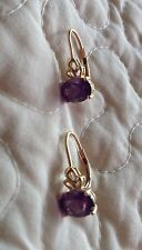 14K YELLOW GOLD OVAL AMETHYST LEVERBACK EARRINGS ~ QVC