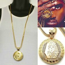MENS NEW ICED OUT HIP HOP GOLD KING TUT MEDALLION PENDANT FRANCO CHAIN NECKLACE