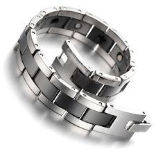 "Tungsten Magnetic Hematite Mens Bracelet Black & Silver 8"" B1407"