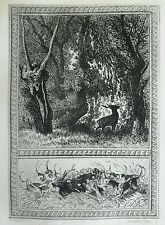 Antique Etching 1884 Pointer Hunting Dogs Deer in Woods nature setting print
