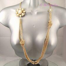 Gold Pl Pearl Regal Y Cristal multi-chain declaración Flapper Collar W Swarovski
