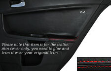 RED STITCH 2X REAR DOOR CARD TRIM SKIN COVER FITS MITSUBISHI LANCER EVO X 10