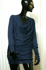 BRUNELLO CUCINELLI Softly Cowled Draped Neckline Cashmere & Silk Navy Tunic Lrg