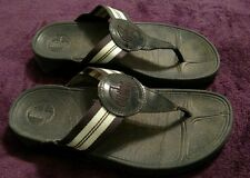 Black/striped Fitflops, Size 7 Casual Walking Flip flops
