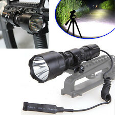 5000LM T6 LED Tactical Flashlight with Picatinny Rail Mount Pressure Switch