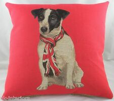 """18"""" UNION JACK RUSSELL DOG with Flag SCARF Belgian Woven Cotton Tapestry Cushion"""