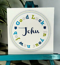 PERSONALISED Handmade Good Luck Congratulations New Job Card