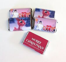 50 CHRISTMAS FROSTY RUDOLPH PERSONALIZED MINI CANDY BAR WRAPPERS PARTY FAVORS