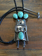 Vintage Navajo Sterling Silver And Turquoise Large Kachina Bolo Tie