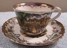 Antique Masons LEEDS copper luster trimmed ironstone transferware cup and saucer